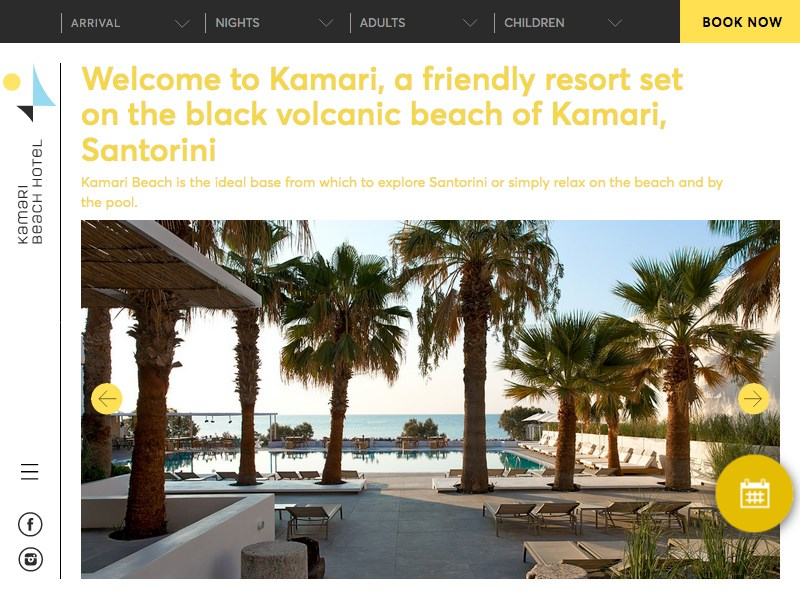 Kamari Beach Hotel Santorini website